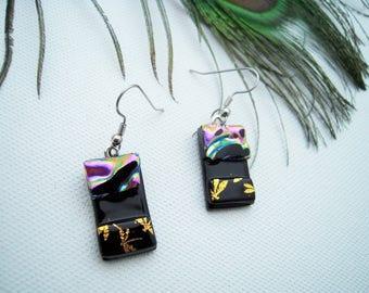 Fused Glass Earrings, dragonfly earrings, dangle earrings, dichroic glass, OOAK earrings, dichroic glass earrings, pink earrings, black