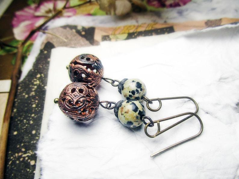 Beaded Drop Earrings Gemstone /& Brass Filigree Beads Rustic Assemblage Oxidized Fancy Brass Metal Ball Beads Bead Drop Earrings