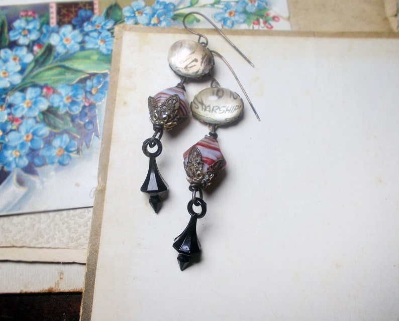 Red /& White Faceted Pressed Glass Black Drop Rustic Assemblage Earrings High Domed Collage Cabochons Gothic Sci fi Starship Picard