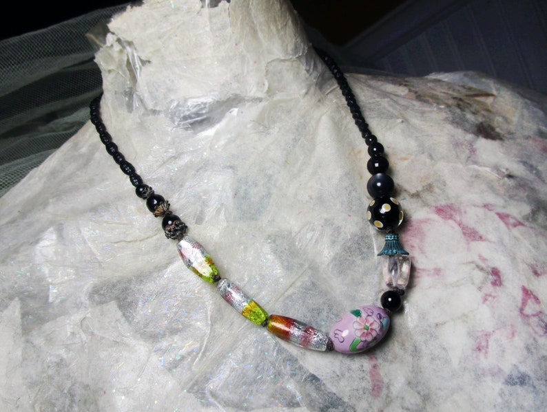 Beaded Necklace  Rustic Assemblage Necklace  Foiled image 4