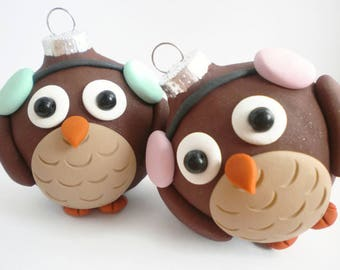 Owl Winter Christmas Ornaments, FREE SHIPPING