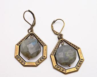 Labradorite Septa Earrings, Gemstone Coin Bead, Art Deco, Vintage Etched Brass, Polygon Earrings, Retro Earrings