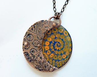 Sun Moon Spiral Enamel Necklace, Riveted, Copper Pendant, Artisan Jewelry, Mixed Media, 3D Layered, Hand Enameled, Kiln-Fired, OOAK