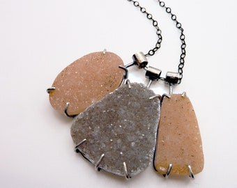 Triple Druzy Necklace, Statement Drusy Gemstone Pendant, Quartz Crystal, Peach, Charcoal, Glitter Stones, Prong Set Sterling Silver, OOAK