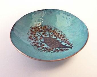 Sea Anemone Bowl, Enamel on Copper Hammered Bowl, Artisan Fused Glass, Gold Blue Black, OOAK Ring Jewelry Dish, Wedding Bridal Gift
