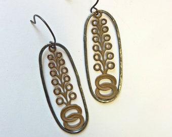 Art Deco Tree Earrings, Forged Sterling Silver Oval Links, Vintage Brass OOAK RESERVED