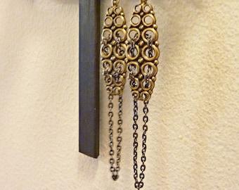 Woven Circles Earrings, Mixed Metals, Vintage Brass, Midcentury Modern, Gunmetal Chain Dangle