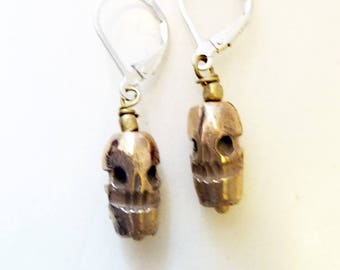Little Skull Earrings, Hand Cast Bronze or Sterling Silver, Primitive Nature Totem, Halloween, Day of the Dead