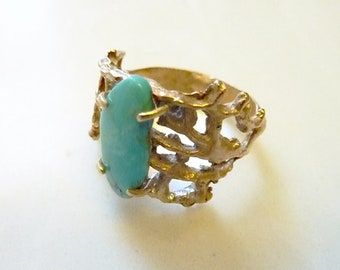 Prong-Set Turquoise Gemstone Ring in Bronze, Organic Lacy Coral, Nautical, Sea Lace Turquoise Ring, Size 8, December Birthstone