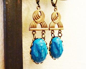 Vintage Glass Pharaoh Cabochons, King Tut, Vintage Brass, Rare 1920s, Art Deco, Egyptian Revival, Turquoise Blue, Pharaoh Cameo Earrings