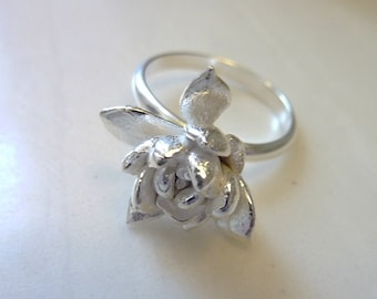 Desert Rose Ring, Statement Succulent Flower Ring, Botanical, Lost Wax Cast Bronze or Sterling Silver, Organic Nature Woodland, Plant Leaf