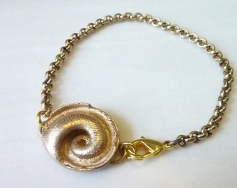 Serpentine Bracelet, Gold Bronze or Sterling Silver, Snail Shell, Nautilus Ammonite Spiral Fossil, Reptile Snake Tail