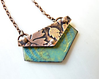 Portfolio Enamel Pendant, Hand-Etched, Enameled, and Riveted Copper, Artisan Jewelry, Mixed Media, Botanic Jewelry, Flower Necklace, OOAK