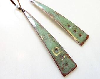 Olive Green Enamel on Copper Earrings, Mid-Century Modern Style, Long Triangle, Kiln-Fired Glass Enamel, Colorful Jewelry, Cravate Earrings