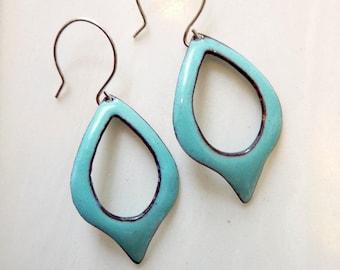 Glass Enamel on Copper Earrings,  Cut Out Teardrop Hoop, Mid-Century Modern Leaf, Sterling or Copper Ear Wires, Speardrop Earrings
