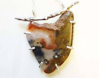 Montana Moss Agate Twig Pendant, Prong-Set Sterling Silver, Cast Metal, Organic Nature Bark, Power Gemstone, Healing Energy, OOAK