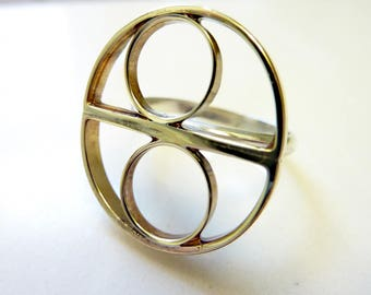 Double Eclipse Ring, Soldered Brass Circles and Half fCircles, Sterling Silver Band, Everyday Gold Jewelry, Geometric Mod