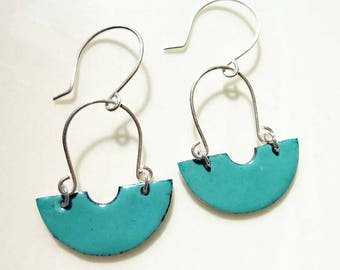 Copper Enamel and Sterling Silver Horseshoe Earrings, Half-Circle, Green, Silver Wire