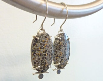 Black Fossil Coral Dot Earrings, Sterling Silver, Prong Setting, Rare Gemstone, Oval Agate, Pebble Pattern, OOAK