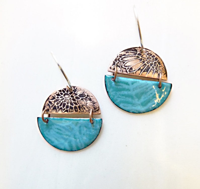 Hand-Etched and Enameled on Copper Earrings Glass Enamel image 0