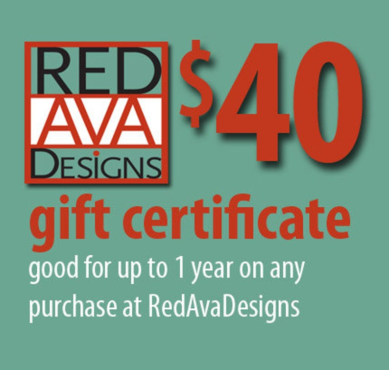 Gift Certificate Any Value for RedAvaDesigns image 0