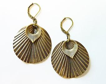 Art Deco Dots and Stripes Fan Earrings, Oxidized Brass, Art Nouveau, Shell Earrings