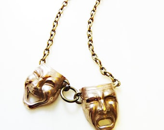 Comedy Tragedy Necklace, Hand-Cast Bronze or Sterling Silver, Mask Face, Iconic Figural, Theater, Drama, Acting, Thespian, Happy Sad