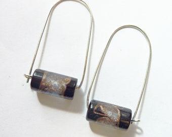 Rare Vintage Japanese Glass, Sterling Silver Earrings, Lampwork Tube Beads, Gold Lavender Glitter, Mid-Century Modern Swirl Earrings