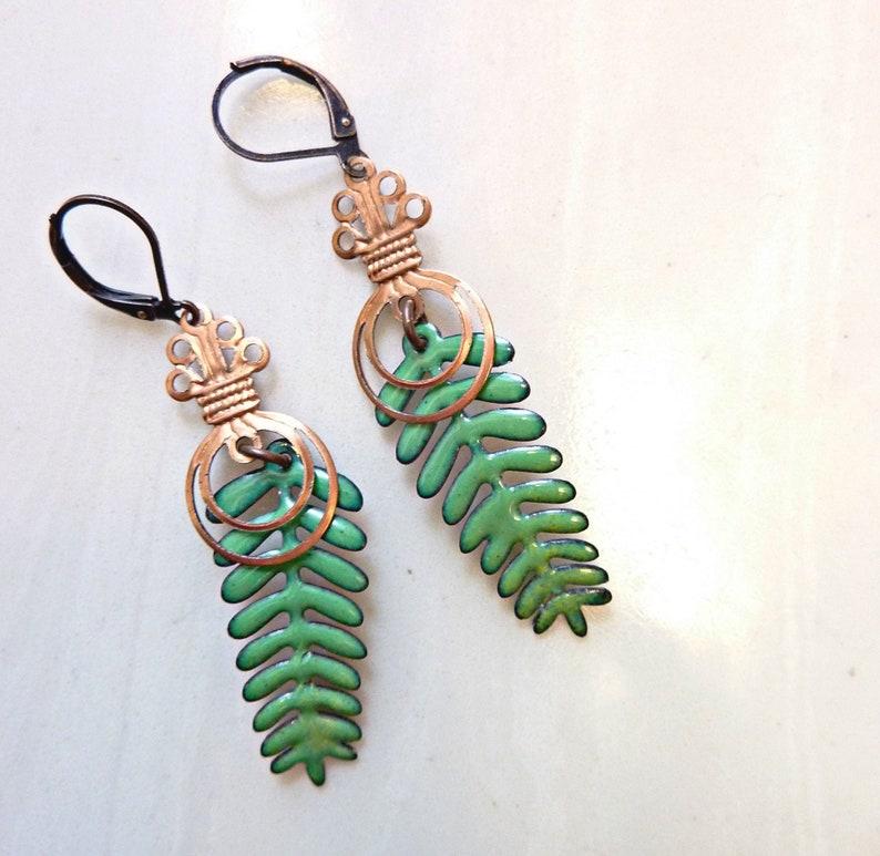 Enamel Leaf Earrings Evergreen Tree Earrings Vintage Copper image 0