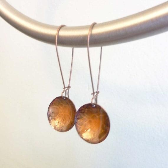 Gebrannte Orange Schlangenhaut Ohrringe Email auf Kupfer | Etsy