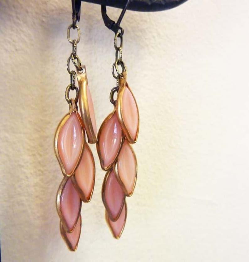 Cascading Leaves Earrings Dusty Rose Pink Leaf Earrings Rare image 0
