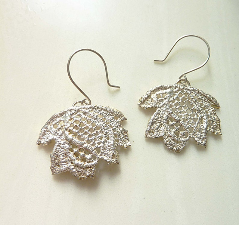 Lace Leaf Earrings Sterling Silver Hand Cast Vintage Lace image 0