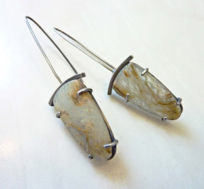 Vortex Earrings Blue Calcite Gemstone Prong Set Sterling image 0