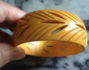 "Vintage Bakelite Butterscotch Cuff Bracelet 1"" SALE! Was 90.00 Now 70.00"