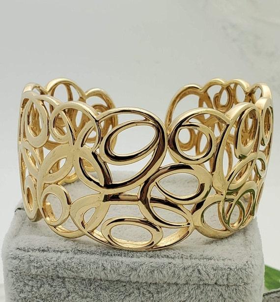 Vermeil Scroll Estate Cuff Bracelet,Vintage Jewelr