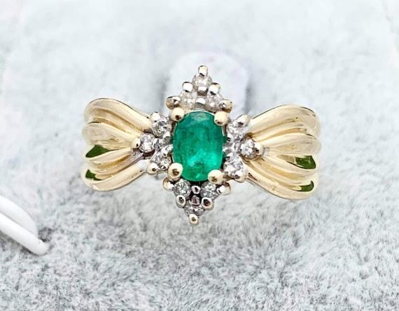 14K Emerald Diamond Estate Ring,Vintage Jewelry,Di