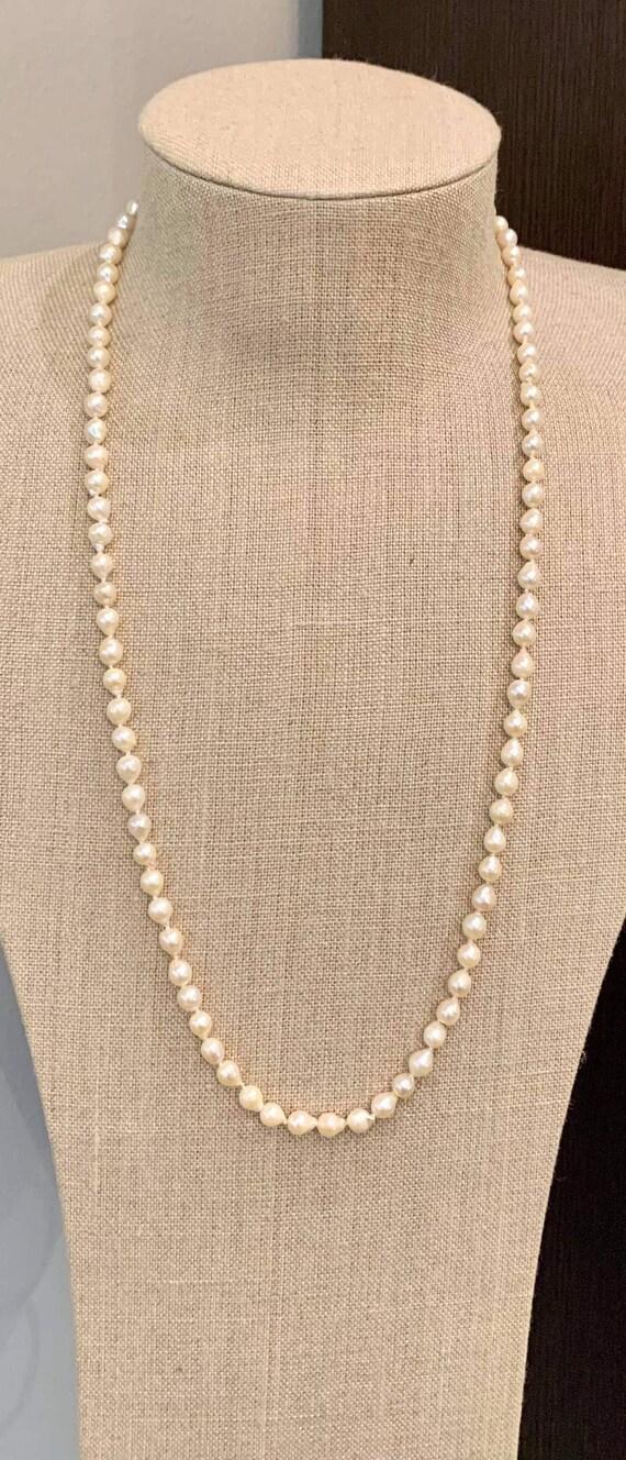 "14K Baroque Akoya Pearl Necklace,Estate,30"" long,P"