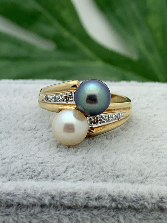14K Gold Pearl Estate Ring,Double Pearl,Vintage Je
