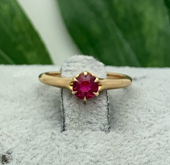 Ruby and Diamond 10k Gold Ring Size 7 10k Gold Vintage Estate JewelryJuly Birthstone40th Anniversary FJ77A
