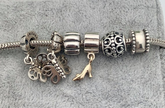 Silver 14k Pandora Charm Bracelet 6 Charms Vintag Gem