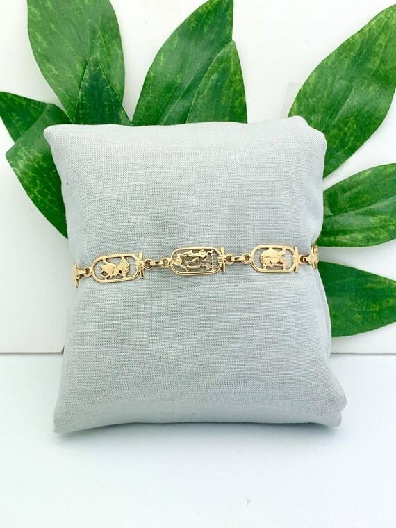 18K Gold Hieroglyphics Bracelet- Vintage, Estate-
