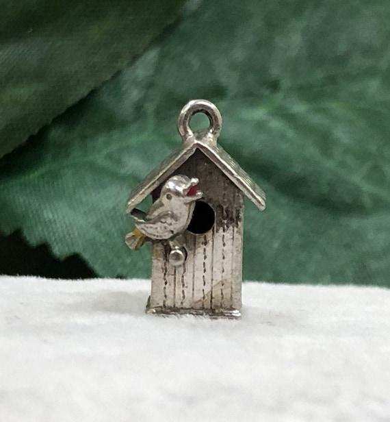 SS Small Birdhouse Estate Charm, Vintage Jewelry,