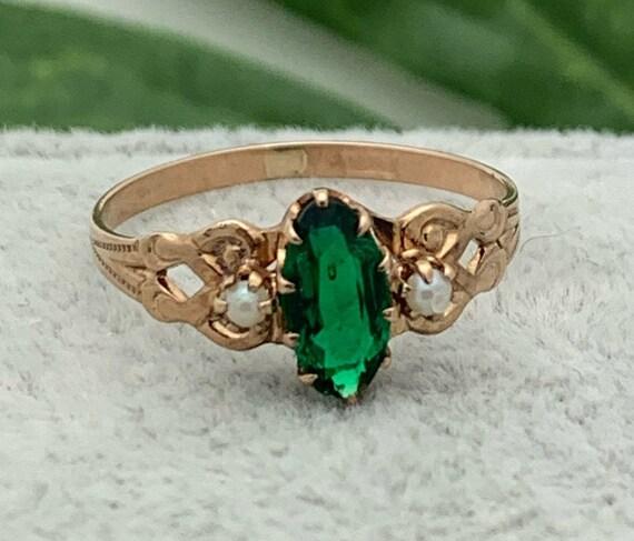 10K Gold Emerald Pearl Ring,Estate Ring,Vintage Je