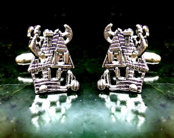Haunted House Cufflinks Sterling Silver Free Shipping