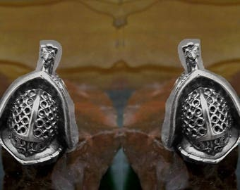 Thracian Gladiator Helmet Cufflinks in solid sterling silver Free Domestic Shipping