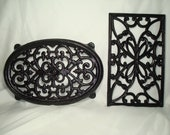 Vintage JOHN WRIGHT Brand Large Oval Cast Metal Trivet and A Rectangular Cast Metal Black Trivet.