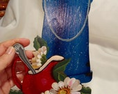 1990 39 s Tole Painted Blue Enameled Coffee Pot with Daisies Wooden Plaque.