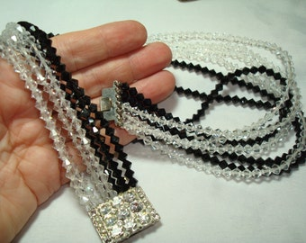 1984 Multi Strands Black and Clear Crystal Like Beaded Jeweled Necklace.