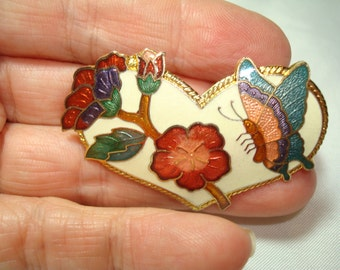 1970s Cloisonné Butterfly with Flowers Scarf Clip.