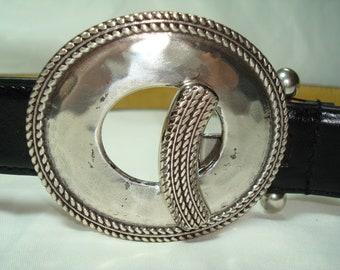 Vintage Antiqued Silver Tone Hammer Buckle with One Inch Black Belt.